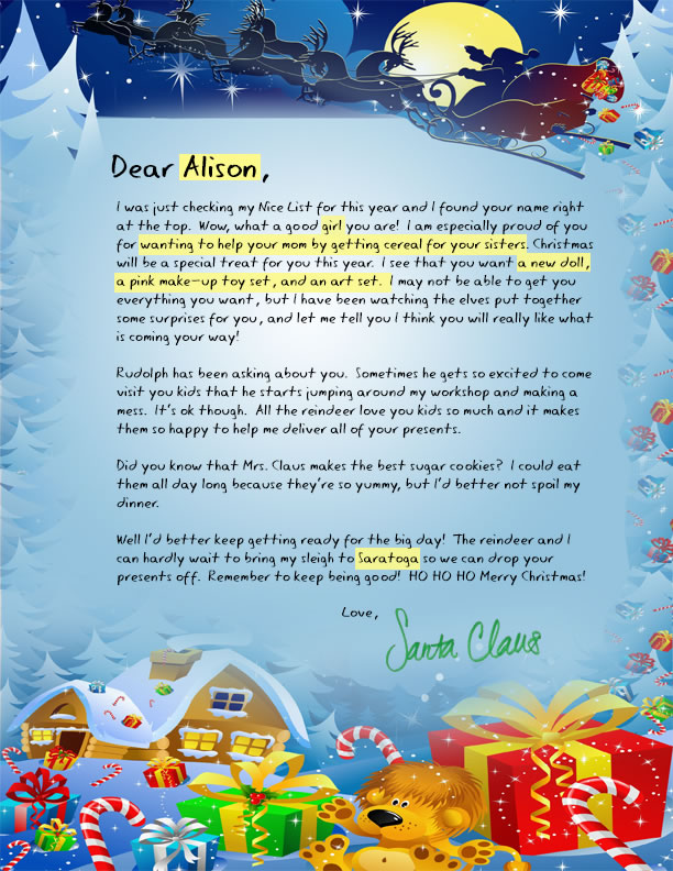 a personalized letter from santa