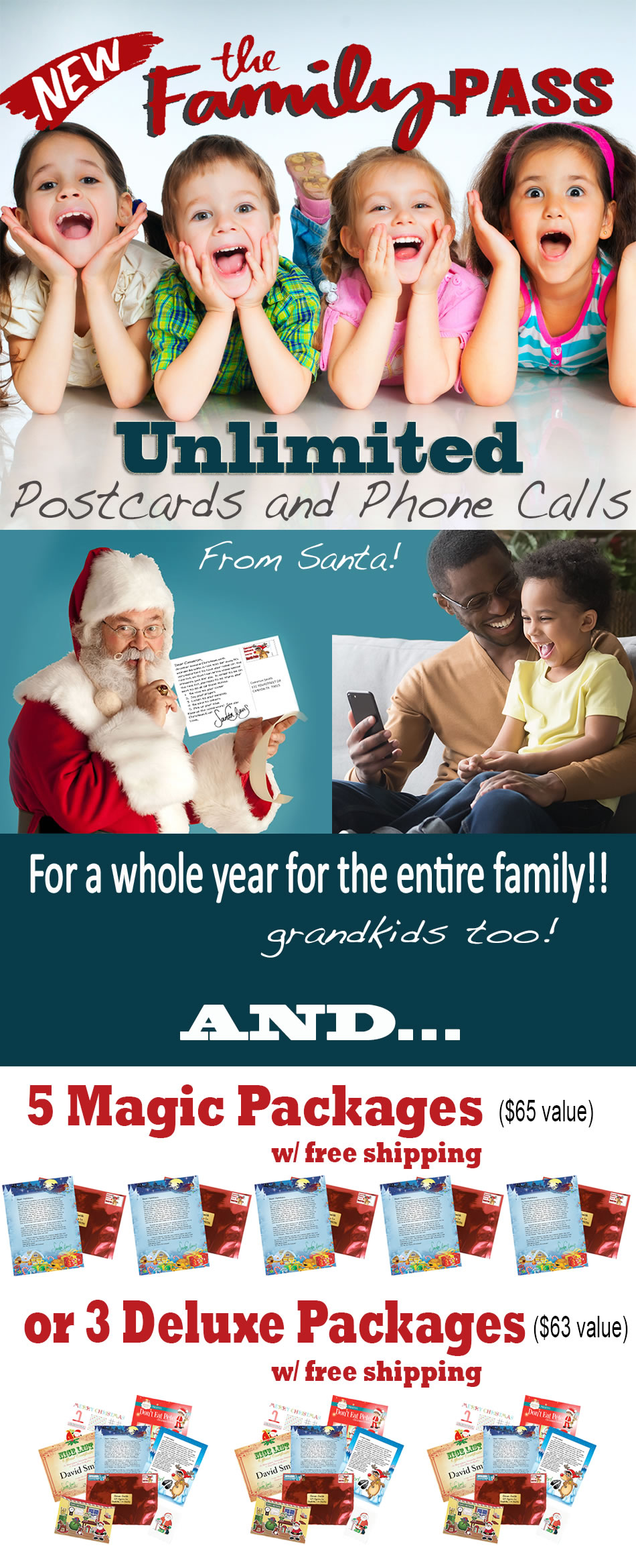 Surprise your children with a personalized letter package straight from Santa!